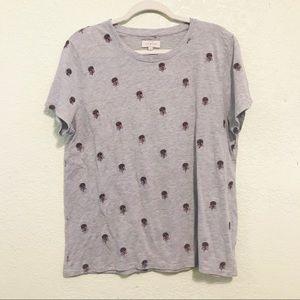 Lucky Brand tee shirt floral patch cotton blend